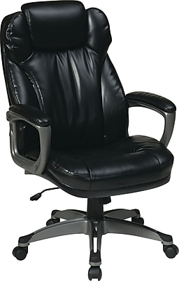 Office Star WorkSmart Leather Executive Office Chair, Fixed Arms, Black (ECH85807-EC3)