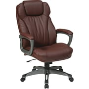 Office Star WorkSmart Leather Executive Office Chair, Fixed Arms, Wine/Titanium (ECH85807-EC6)