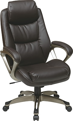 Office Star WorkSmart Leather Executive Office Chair, Fixed Arms, Espresso (ECH89181-EC1)