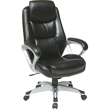 Office Star WorkSmart Leather Executive Office Chair, Fixed Arms, Black (ECH89186-EC3)