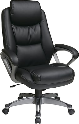 Office Star ECH89187-EC3 Work Smart Eco Leather Mid-Back Executive Chair with Fixed Arms, Black