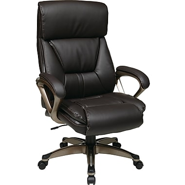 Office Star WorkSmart Leather Executive Office Chair, Fixed Arms, Espresso (ECH89301-EC1)