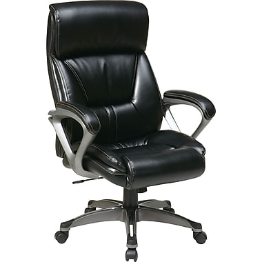 Office Star WorkSmart Leather Executive Office Chair, Fixed Arms, Black (ECH89307-EC3)