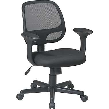 Office Star EM20222-3 Work Smart Mesh Mid-Back Task Chair with Fixed Arms, Black