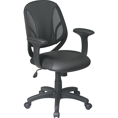 Office Star EM20522-3U Work Smart Urethane Managers Chair with Fixed Arms, Black