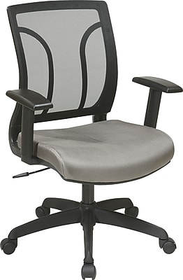 Office Star WorkSmart Mesh Computer and Desk Office Chair, Adjustable Arms, Gray (EM50727-2)
