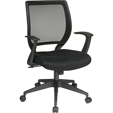 Office Star WorkSmart Mesh Computer and Desk Office Chair, Fixed Arms, Black (EM51022N-3)