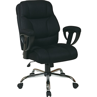 Office Star WorkSmart Big and Tall Mesh Executive Chair, Adjustable Arms, Black