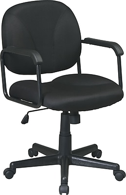 Office Star WorkSmart™ Back Executive Chair with Fabric Seat and Back, Black