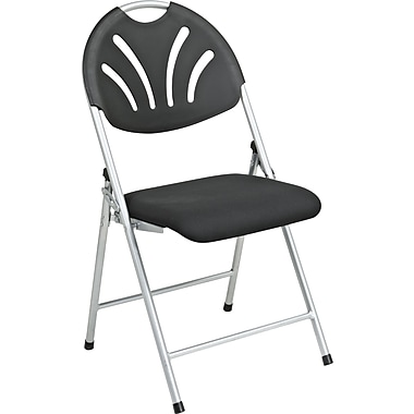 Office Star WorkSmart™ Fabric Folding Chair with Plastic Fan Back, Black