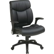 Office Star WorkSmart Leather Managers Office Chair, Adjustable Arms, Black (FL89675-U6)