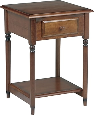 Office Star Knob Hill 27 1/2H x 19 1/2'' W x 19 1/2'' D Veneers and Solid Wood Accent Table, Cherry