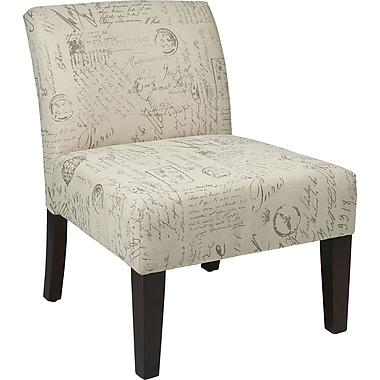 Office Star Ave Six Laguna Fabric Armless Accent Chair, White (LAG51-S13)