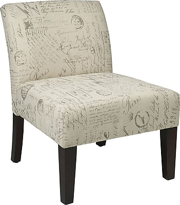 Office Star Ave Six Laguna Fabric Armless Accent Chair, White (LAG51-S13)