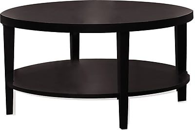 Office Star Avenue Six® 18H x 36W x 36D Wood and Wood Veneer Merge Round Coffee Table, Espresso