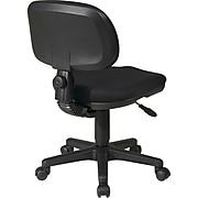 Office Star WorkSmart Swivel Fabric Task Chair, Armless, Black