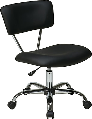 Office Star Ave Six Fabric Computer and Desk Office Chair, Armless, Black (ST181-V3)