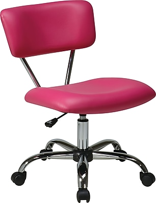 Office Star Ave Six Fabric Computer and Desk Office Chair, Armless, Pink (ST181-V355)