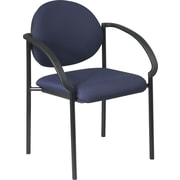 Office Star WorkSmart™ Fabric Stacking Chair with Arm and Plastic Shell Back, Navy