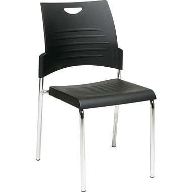Office Star WorkSmart™ Plastic Sled Base Stack Chair with Chrome Finish, Black