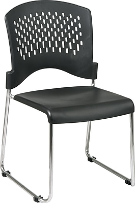 Office Star WorkSmart™ Plastic Stacking Chair with Sled Base, Black, 2/pack