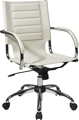 Office Star Trinidad Vinyl Office Chair, Fixed Arm, White