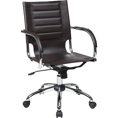 Office Star Avenue Six Trinidad Vinyl Office Chair, Fixed Arms, Espresso