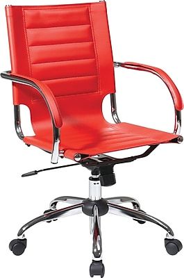 Office Star Avenue Six® Vinyl Trinidad Office Chair, Red