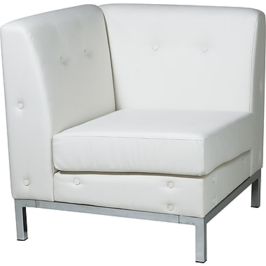 Office Star Avenue Six® Wall Street Corner Chairs, White Seat