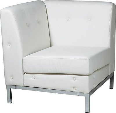 Office Star Avenue Six® Wall Street Corner Chairs, White Seat