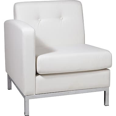 Office Star Ave Six Faux Leather Single Arm Chair, White (WST51LF-W32)