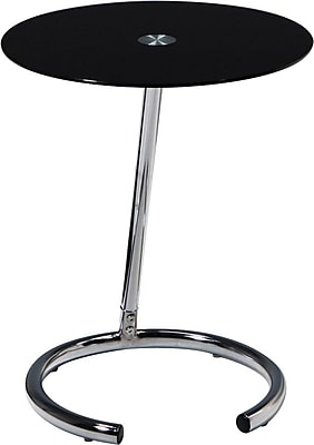 """Avenue Six® 19 1/2"""" H x 16"""" W x 16"""" D Yield Telephone Table, Black Glass Top Material"""