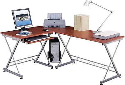 Techni Mobili Corner Computer Desk, Mahogany