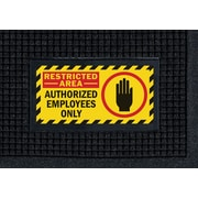 """M + A Matting Waterhog™ Sign Mat - """"RESTRICTED AREA"""", 3' x 5', Vertical, Cleated (1565274)"""