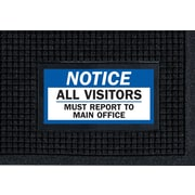 """M + A Matting Waterhog™ Sign Mat - """"NOTICE ALL VISITORS"""", 3' x 5', Vertical, Cleated (1504089)"""