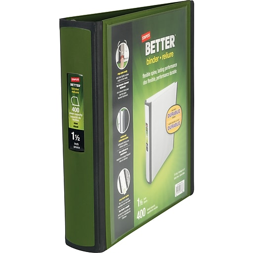 Staples Better 1.5-Inch D 3-Ring View Binder, Olive (22165