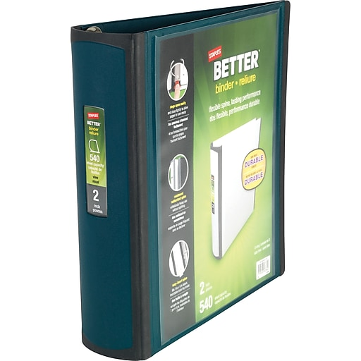 staples better 2 inch d 3 ring view binder dark teal 22166 us