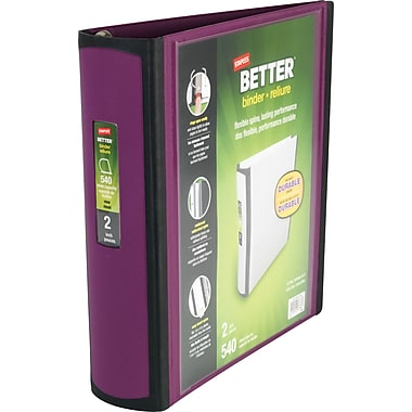 2in. Staples® Better® View Binders with D-Rings, Plum