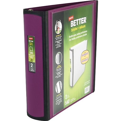 2 staples better view binders with d rings plum staples