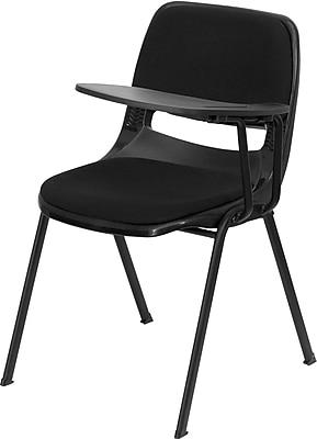 Flash Furniture Padded Black Ergonomic Shell Chair, Black Left Handed Flip-Up Tablet Arm