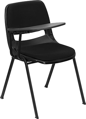 Flash Furniture Padded Black Ergonomic Shell Chair; Black Right Handed Flip-Up Tablet Arm