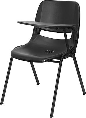 Flash Furniture 2RUTEO1BKLTAB Plastic Arm Chair, Black