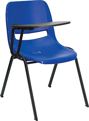 Flash Furniture Ergonomic Shell Chair, Right Handed Flip-Up Tablet Arm, Blue
