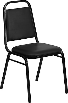 Flash Furniture HERCULES Series Trapezoidal Back Stacking Banquet Chair with Black Vinyl and Black Frame Finish, 4/Pack