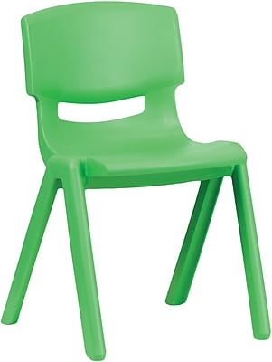Flash Furniture 4YUYCX004GREEN Plastic Stack Chair, Green