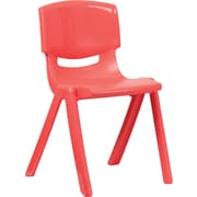 Flash Furniture Plastic Stackable School Chair with 18'' Seat Height, Red, 4/Pack