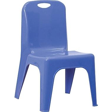 Flash Furniture – Chaise d'école empilable en plastique avec poignée, siège à une hauteur de 11 po, bleu, paq./4