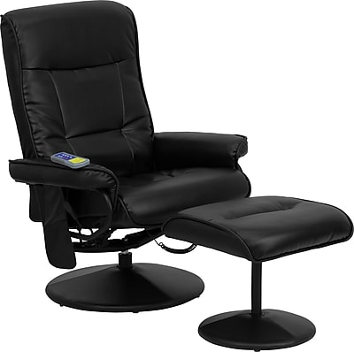 Flash Furniture Massaging Leather Tufted Style Recliner and Ottoman with Leather Wrapped Base, Black