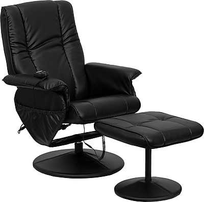 Flash Furniture Massaging Leather Vertical Designed Recliner and Ottoman with Leather Wrapped Base, Black 130019