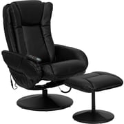 Flash Furniture Massaging Designer Leather Recliner and Ottoman with Leather Wrapped Base, Black